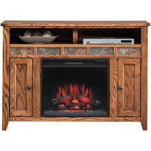 Evanston Antique Oak 48 Inch Fireplace Console