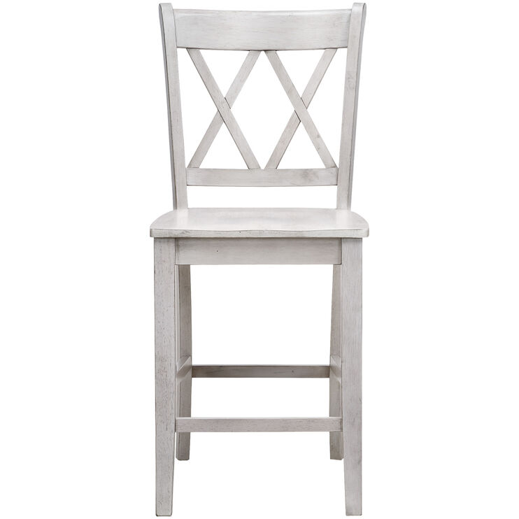Platinum 24 Inch White X-Back Counter Stool
