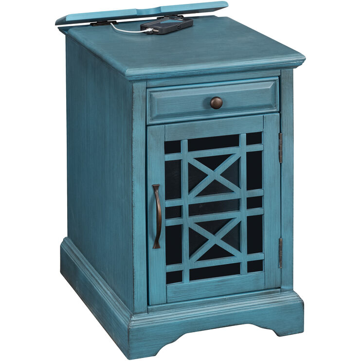 Chilton Antique Blue Power Chairside Table