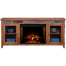 Evanston Antique Oak 72 Inch Hiboy Fireplace Console