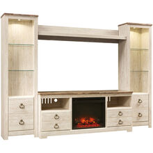 Willowton White 4 Piece Infrared Fireplace Entertainment Center