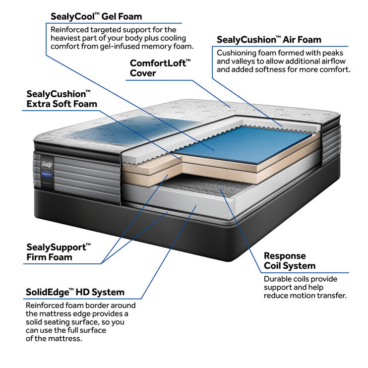 Sealy Posturepedic Exultant Pillowtop Queen Mattress and Low Profile Foundation Set
