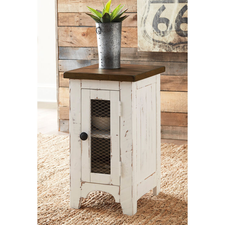 Rosa White Chairside Table