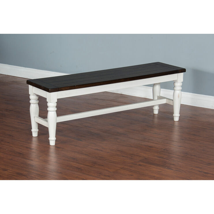 Carriage House White and Black Bench