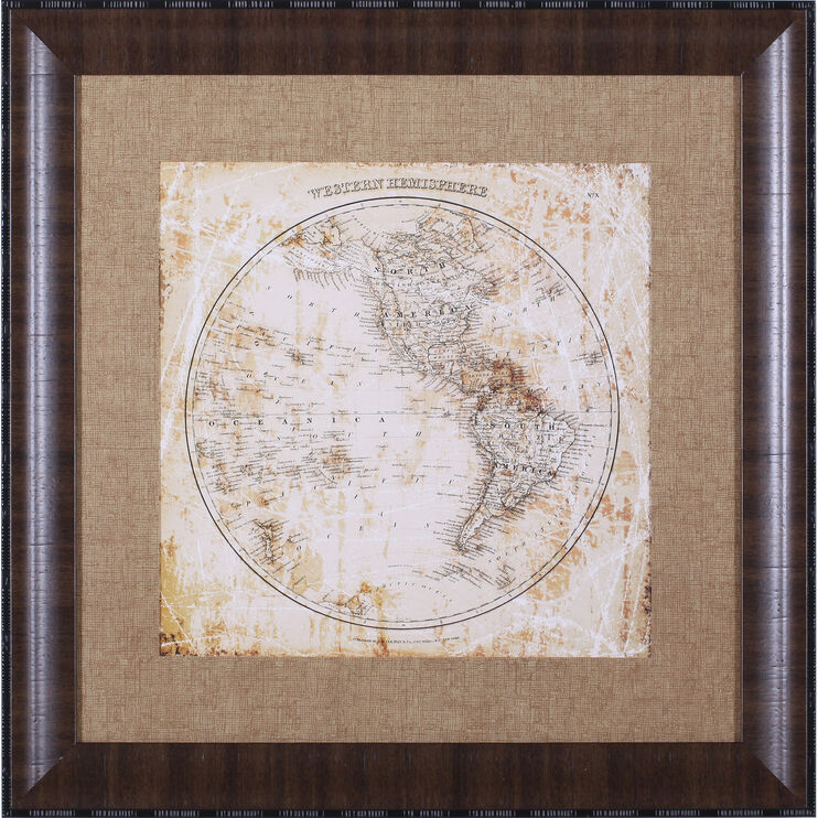 Map West Hemisphere Framed Art
