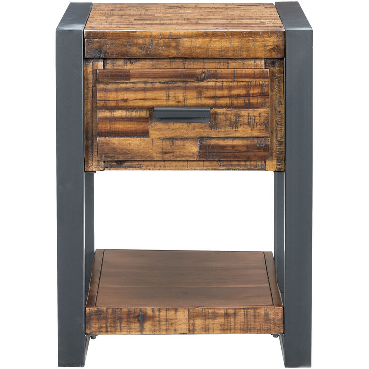 Loftworks Distressed Brown Chairside Table
