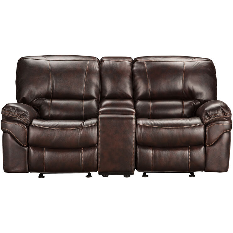 Valdez Brown Glider Console Loveseat