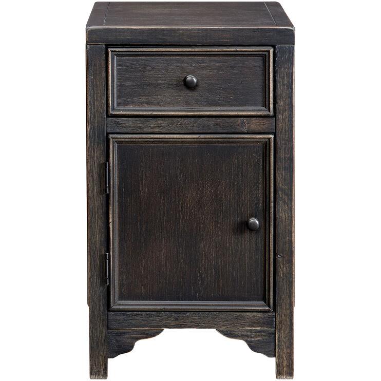 Gavelston Black Storage Chairside Table