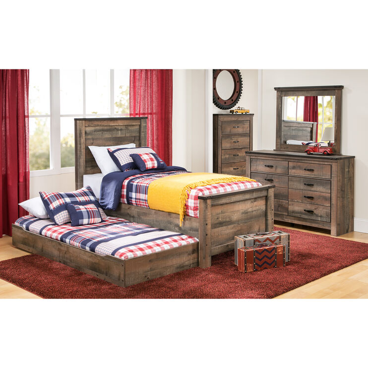 Trinell Rustic Plank Full Panel Bed with Trundle