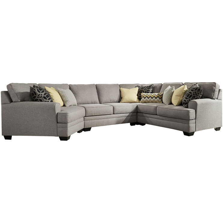 Helms 5 Piece Pewter Left Cuddler Sectional