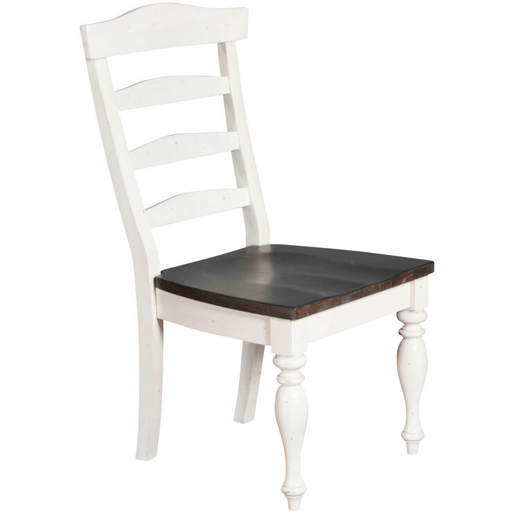 Carriage House White and Black Ladderback Side Chair
