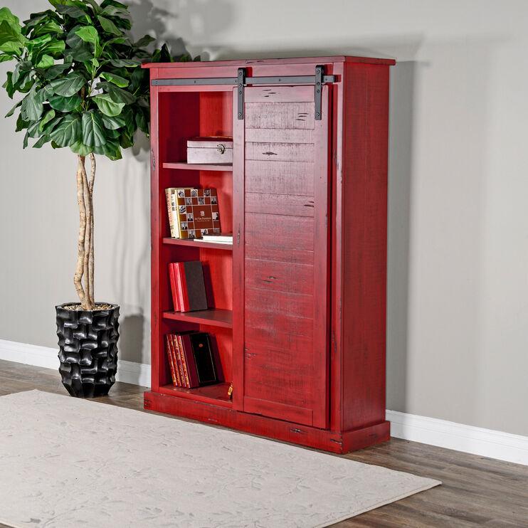 Sante Fe Red Barn Door Bookcase
