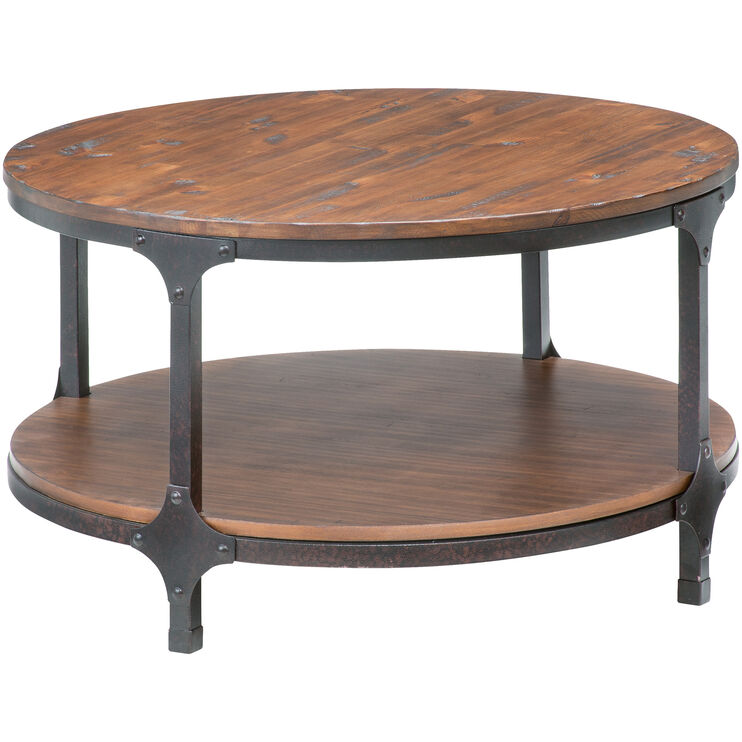Distressed Round Coffee Tables: Abbott Distressed Pine Round