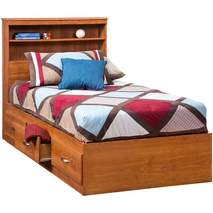 Jacob Oak Twin Bookcase Captains Bed