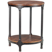 Abbott Distressed Pine Round Chairside Table