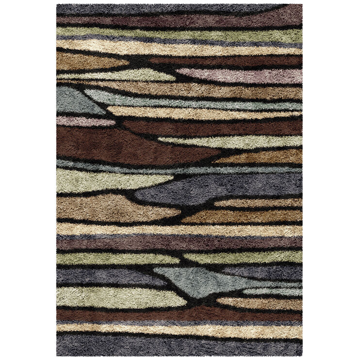 Slumber Shag Plateau Rainbow Abstract Stripes 8x10 Rug