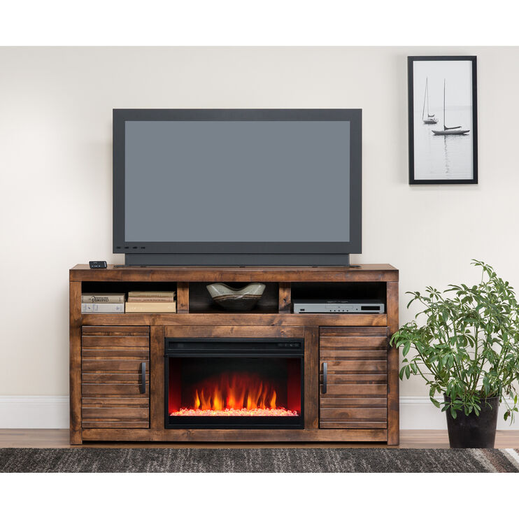Sausalito Brown 62 Inch Fireplace Console