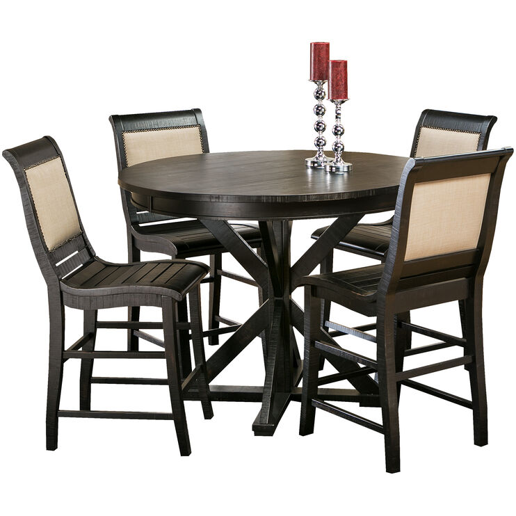 Willow Distressed Black 5 Piece Round Counter Set