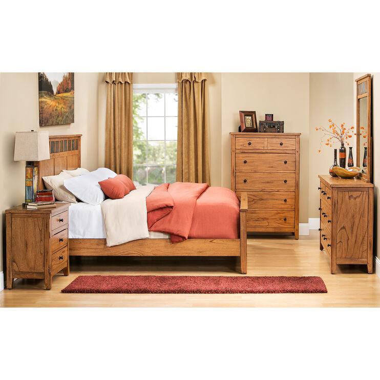 Sante Fe Rustic Oak Queen Panel Bed