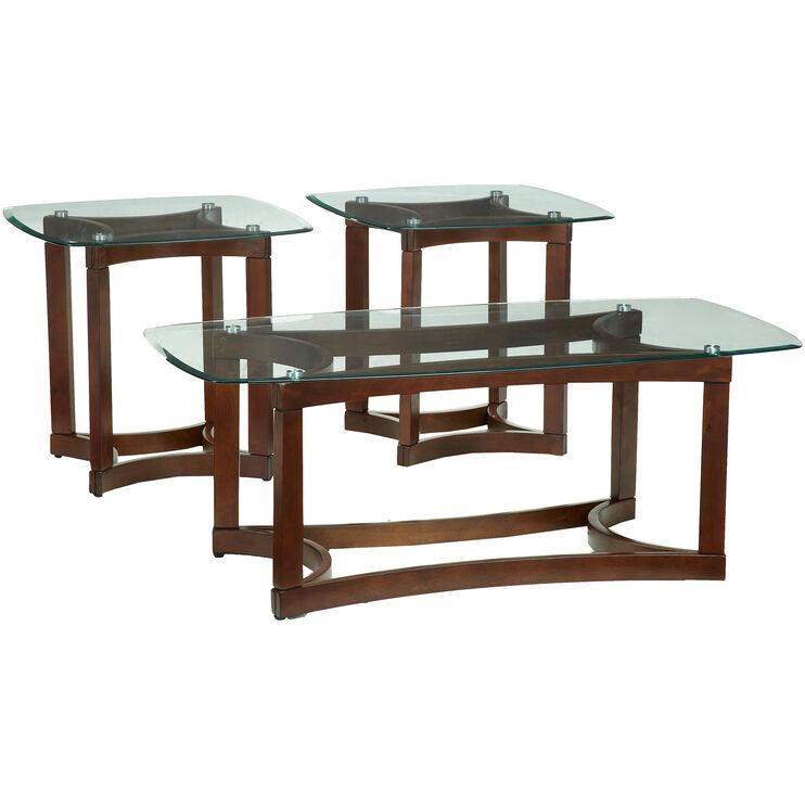 Bellingham Brown 3 Pack Glass Tables
