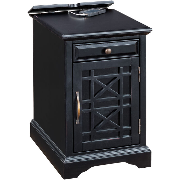 Chilton Antique Black Power Chairside Table