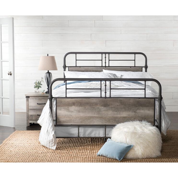 Gambrel Driftwood Queen Metal Bed