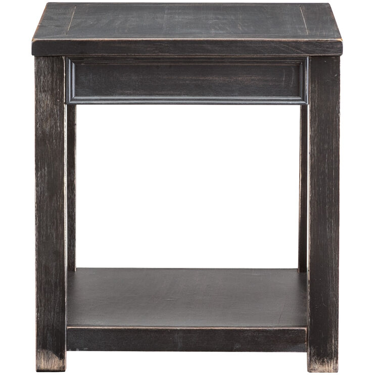 Gavelston Black One Shelf End Table