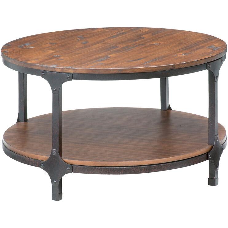 Abbott Distressed Pine Round Coffee Table
