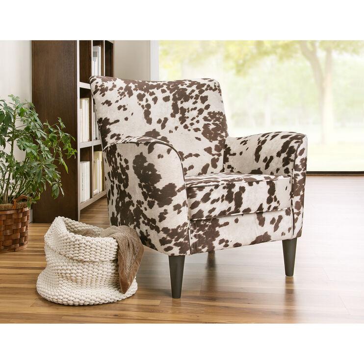 Cora Cream Cow Print Accent Chair
