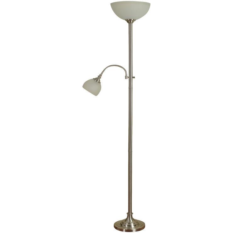 Lira Brushed Silver Dual Floor Lamp