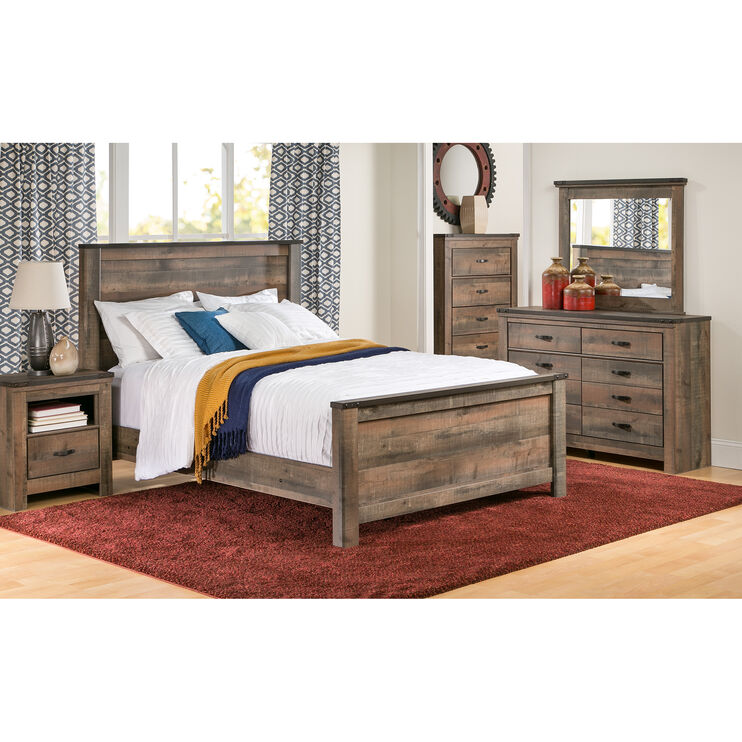 Trinell Rustic Plank Full Panel Bed