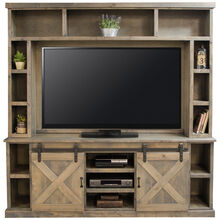Farmhouse Barnwood 85 Inch Console and Hutch