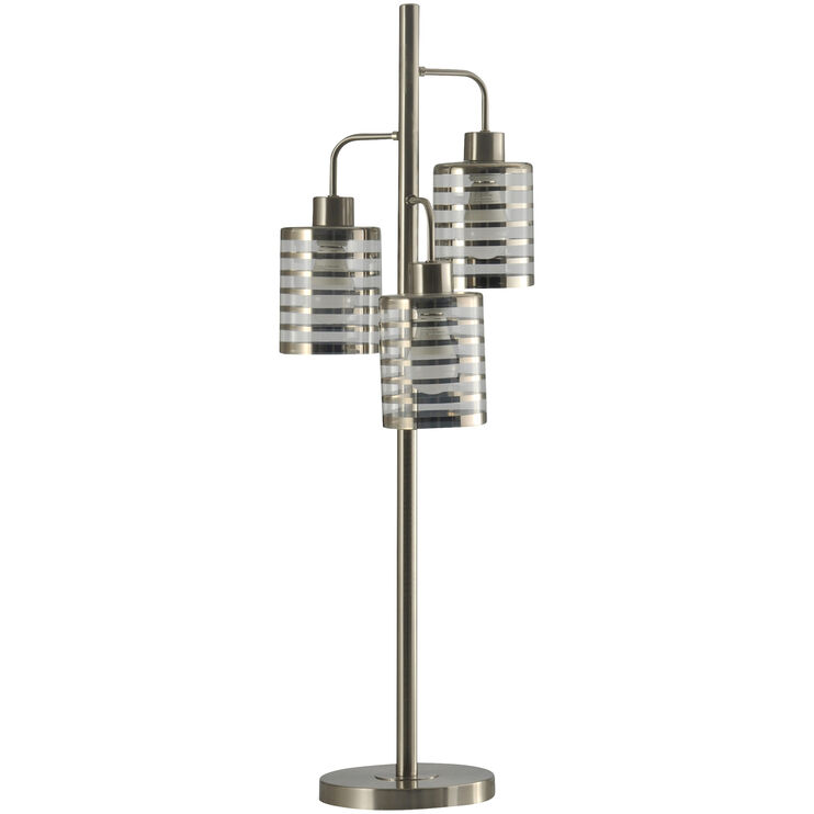 Whitney Brushed Steel 3 Head Table Lamp