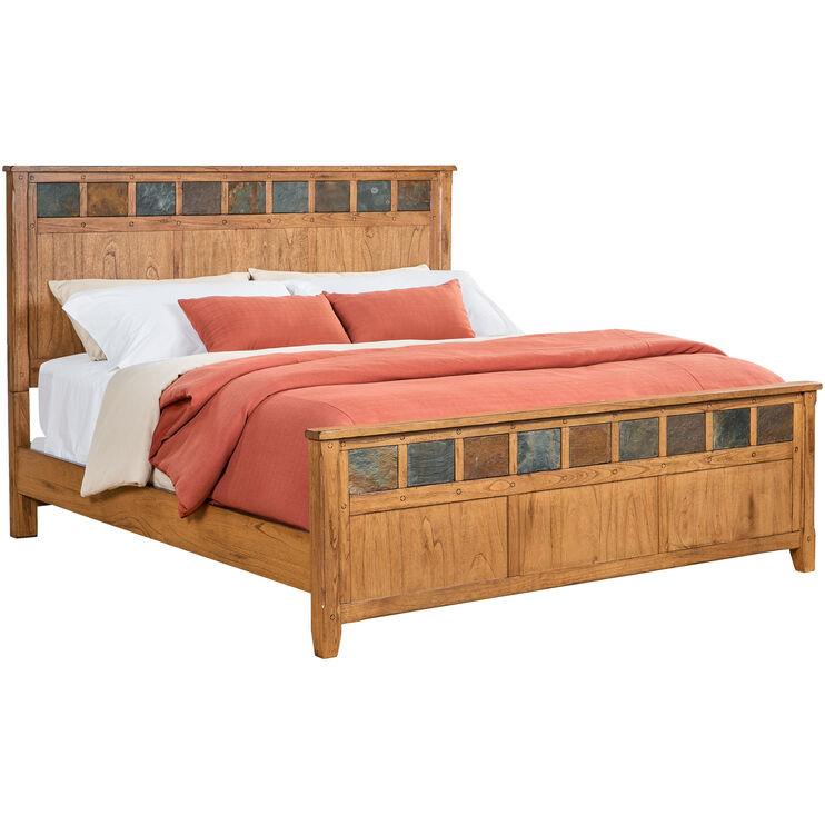 Sante Fe Rustic Oak King Panel Bed
