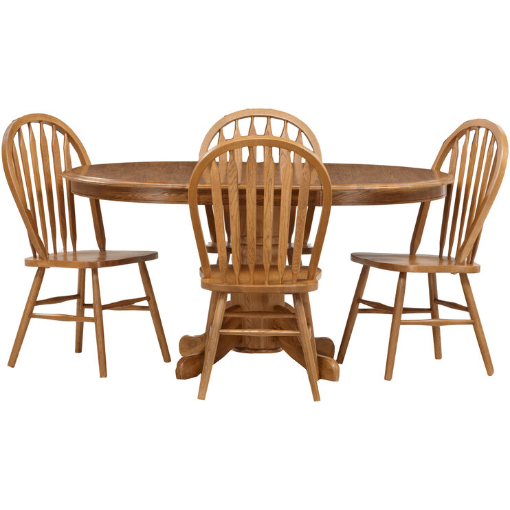 Swell Jefferson Chestnut 5 Piece Arrow Back Pedestal Dining Set Gmtry Best Dining Table And Chair Ideas Images Gmtryco
