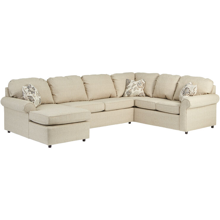 Burke Bisque 3 Piece Left Chaise Sectional