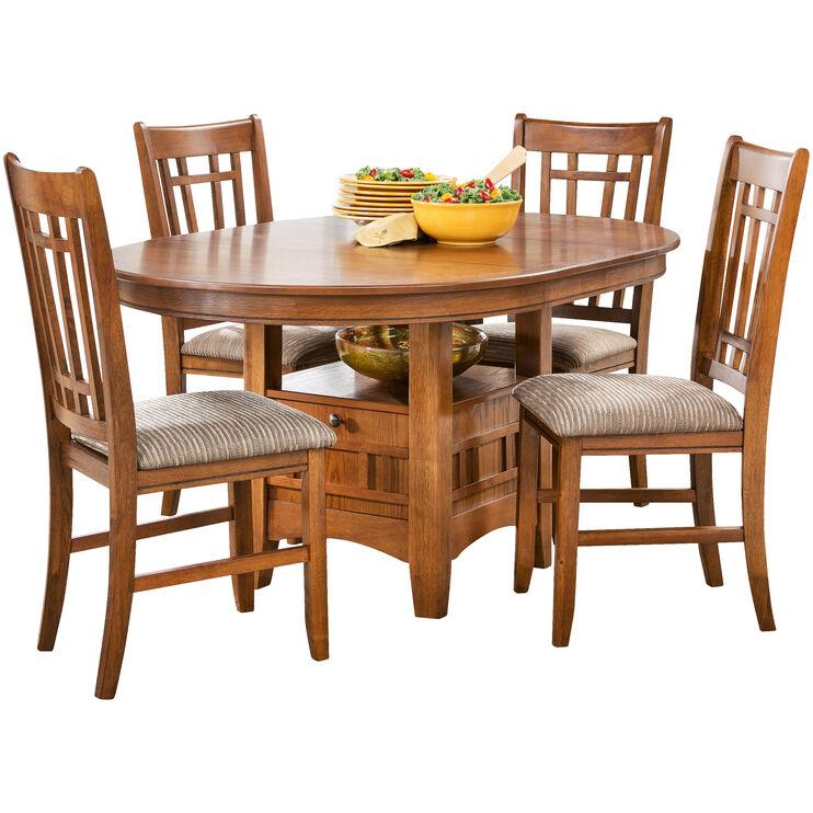 Santa Rosa 5Pc Oak Pedestal Dining Set