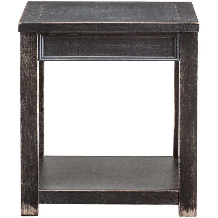 Gavelston Black One Shelf End Table