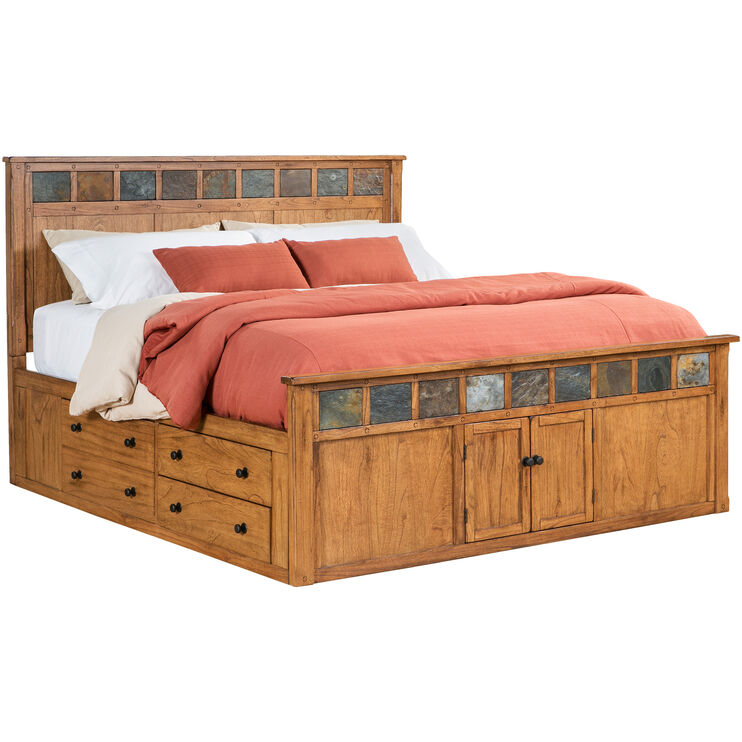 Sante Fe Rustic Oak Queen Panel Captains Bed