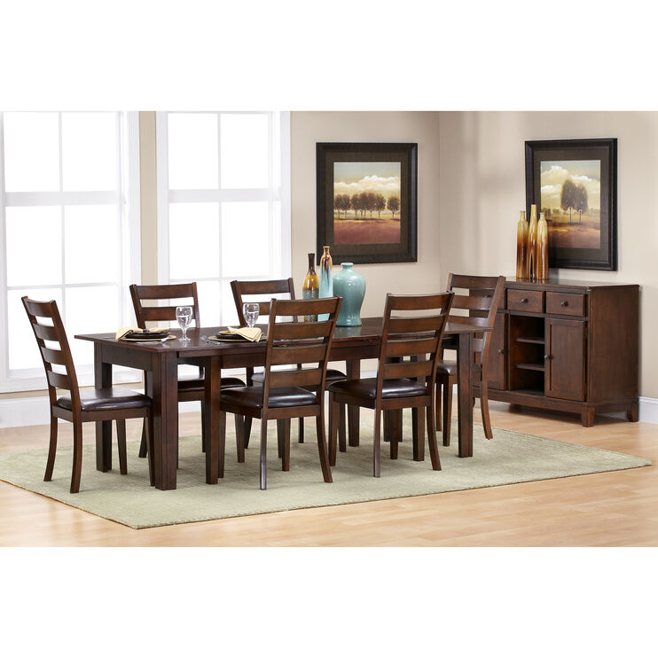 Kona 7 Piece Raisin Ladder Back Dining Set