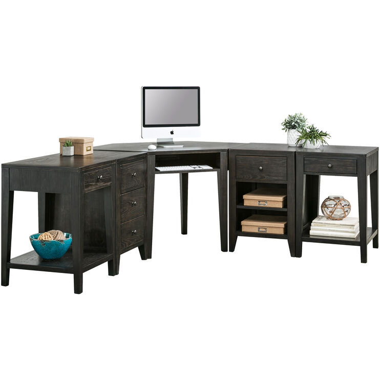 Autumn Oaks II 3Pc Black Desk Set