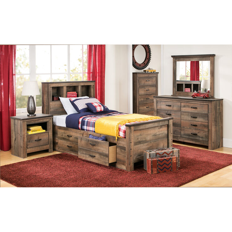 Trinell Full Bookcase Storage Bed