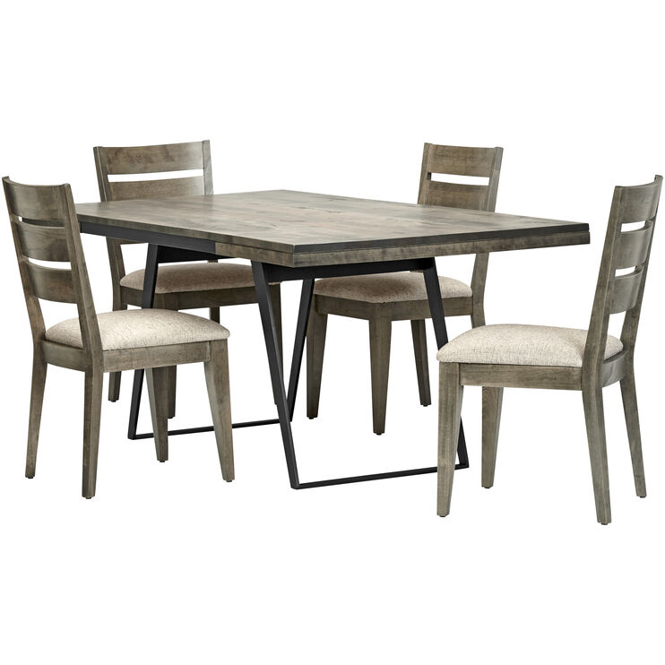 Uptown 5 Piece Gray Ladder Back Dining Set