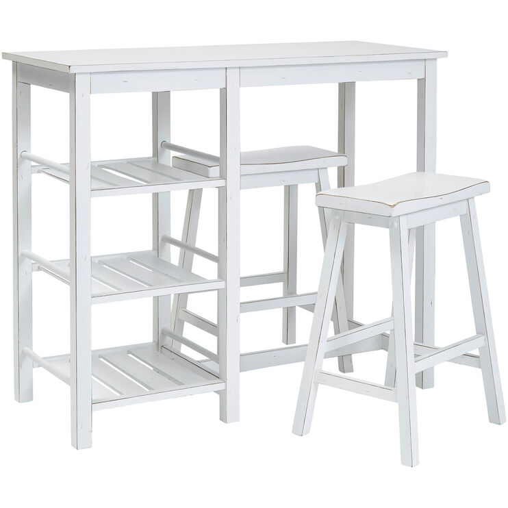 Breakfast Club White 3 Piece Counter Dining Set