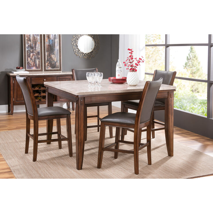 Eileen Marble 5Pc Counter Dining Set