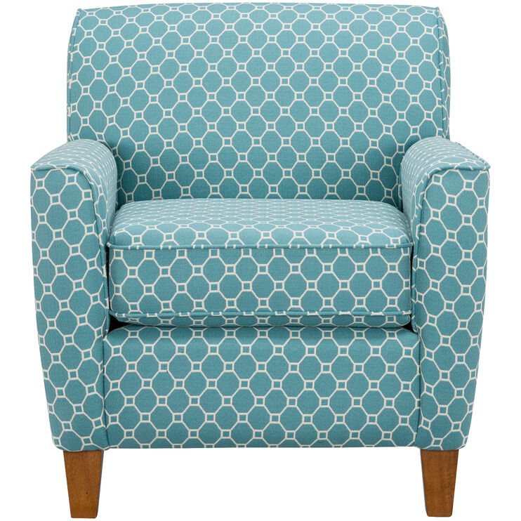 Risa Blue Geometic Accent Chair