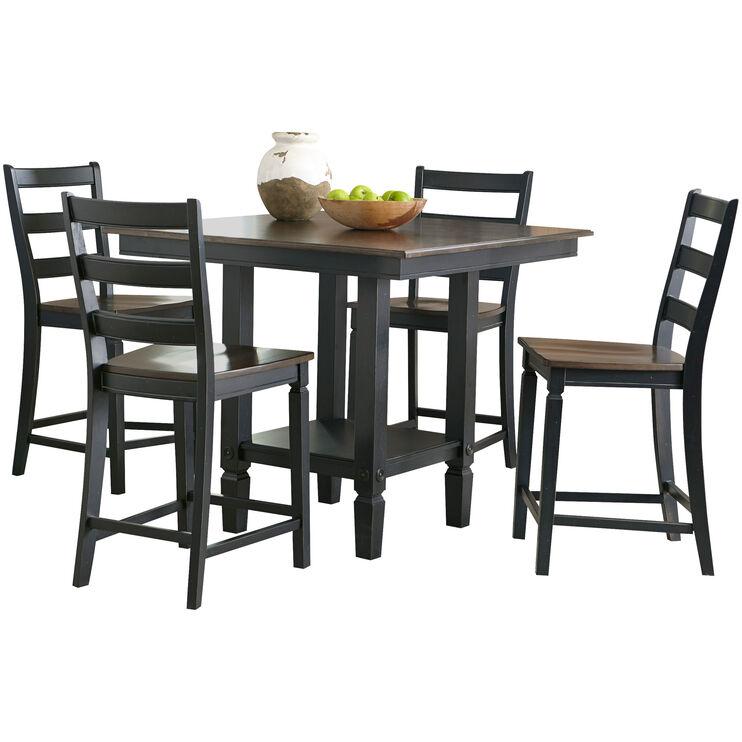 Glennwood Black 5 PC Counter Dining Set