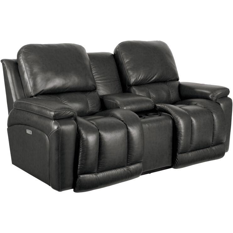 Greyson Charcoal Power Console Loveseat