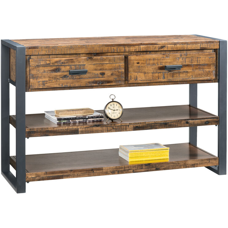 Loftworks Distressed Brown 2 Drawer Console Table