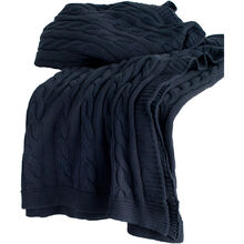 Cozy Navy Cable Knit Throw